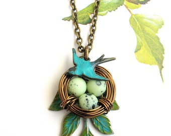 Nest necklace, bird egg necklace, Mother gift Grandma necklace Turquoise, mother of 1, 2, 3, 4, mother of one, two, three, four eggs green