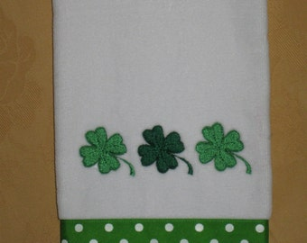 Embroidered  St. Patrick's Day hand towel. .