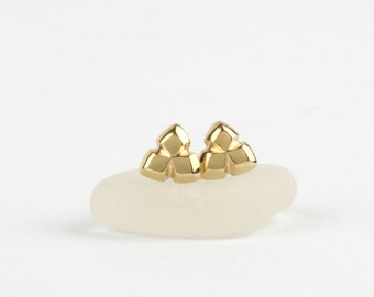 Small gold stud earrings, 14k solid gold earrings, tiny earrings, geometric studs, tiny gold earrings, gold triangle