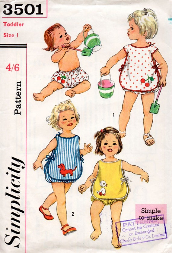 1960s baby or toddlers sunsuit vintage sewing pattern with