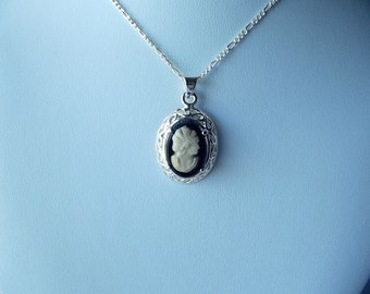 Cameo Necklace, Mothers Day, Mom Sister Grandmother Necklace Jewelry, Pretty, Simple Silver