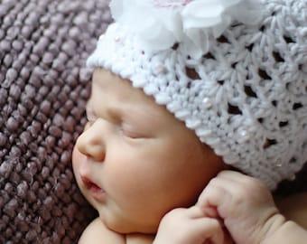 Baby Crochet Hat Pattern:  Christening, Baptism, 0-9 months