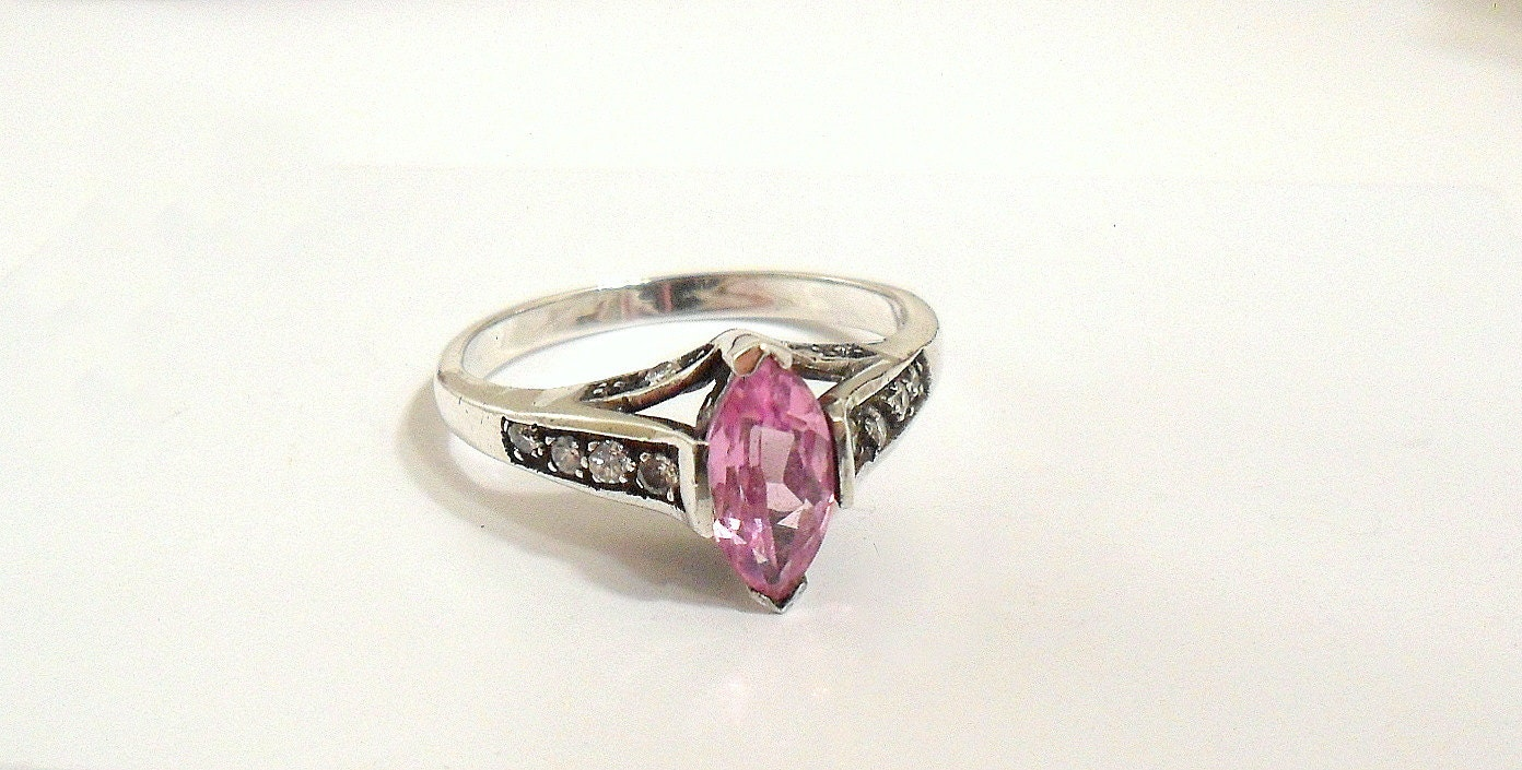 Avon Ring Sterling With Pink Marquise Cut Stone Size 10