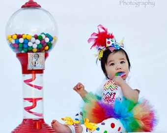 First Birthday Tutu Outfit  -- Rainbow Sweetheart -- bow, leg warmers, tutu and personalized bodysuit with chevron