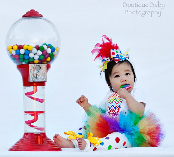 FREE SHIPPING First Birthday Tutu Outfit Rainbow
