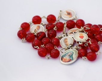 Handmade Ruby Glass Bead Catholic Chaplet of the Five Wounds of Christ with Colored Medals