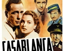 """Humphrey Bogart - Casablanca - Home Theater Decor - Classic Movie Poster Print  13""""x19"""" - Vintage Old Movies Poster"""
