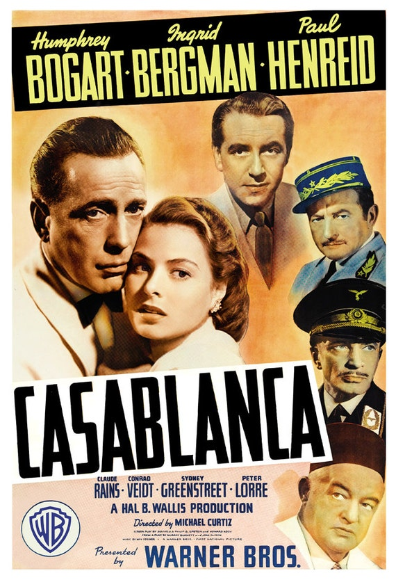 Humphrey Bogart Casablanca Home Theater Decor Classic