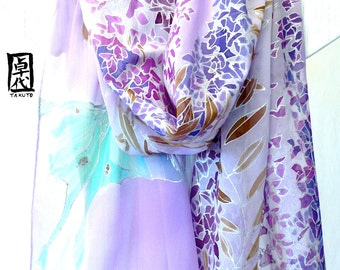 Hand Painted Silk Shawl, Night Wisteria Vines and Luna Moth Silk Shawl, Silk Chiffon Shawl, Silk Scarves Takuyo, 20x89 inches. Made to order
