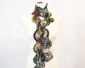 Patchwork Scarf, Crochet Scarf, Crochet Lace, Lace Scarf, Multicolor Crochet Scarf, Neck Warmer