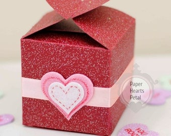 DIY Valentine's Day Heart Closure Favor Box - Great for parties and weddings too  - Preassembled option available - 12 boxes per pack