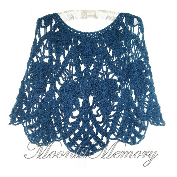 Handmade Crochet Poncho, Hand Crocheted Cape Cropped, Teal Blue Crochet Wrap Pullover