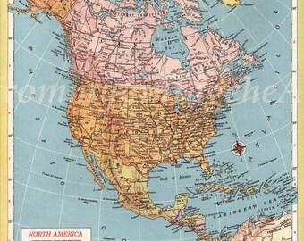 Vintage map North America 1940s, atlas cartography original