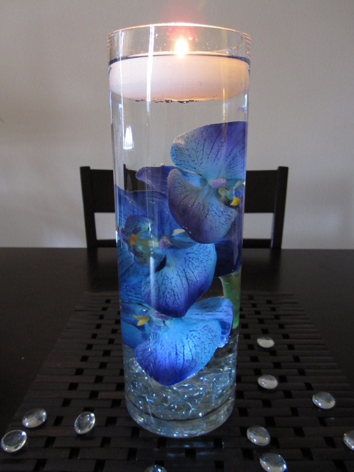 Blue Purple Orchid Floating Candle Wedding Centerpiece