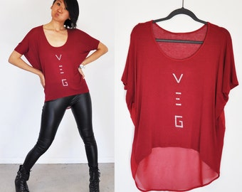 Veg Top - Oversize Asymmetrical Maroon Top  ( Size S / M / L / XL )