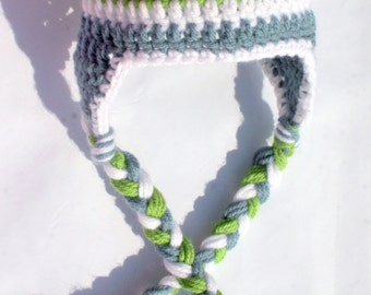 Newborn Crocheted Photo Prop Boy Blue, Green, and White 12 in. Hat - IN STOCK