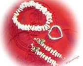 SWEET Jewelry Set-Shells-Red Glass Beaded Bracelet-Earrings-(30.00 Set)