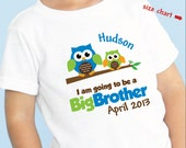 Happy Owl Big Brother Shirt - I'm Going To Be A Big Brother Owl Shirt - Pregnancy Announcement