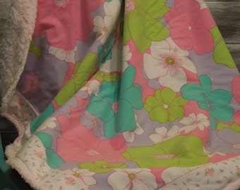 modern baby girl vintage sheet blanket quilt - bold sweet flowers - pink, green, teal, purple, white - upcycled