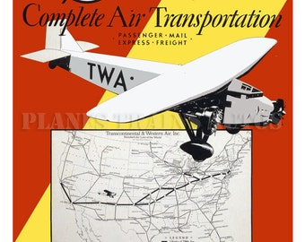 Vintage TWA Airline Poster advert. TWA Complete Air Transportation 1932. Instant Download - Printable Poster