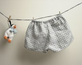 Children shorts 100% linen, boys linen shorts, pants, checked grey and white. Size 18-24 months.  Ready to ship.