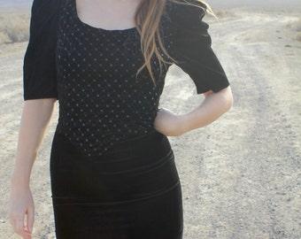 Fallen Star - Rad Black Sequins Gunne Sax Mini Prom Dress, Crushed Velvet, Small