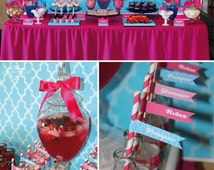 SPA Party Printable Party Set - Cupcake Toppers, Bottle Labels, Thank You Cards and more