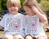 ABC Love SHORT Sleeve T Shirt for boys and girls, great for school and Valentine's Day by Messy Kids Designs