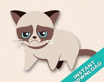 Grumpy Cat Vector Illustration - Instant Download