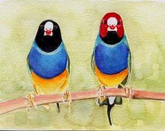 Finch painting 5x7 original watercolor painting, art & collectibles, wall art earthspalette