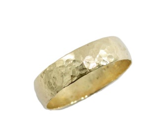 hammered wedding ring14k yellow gold 5mm widewedding band men wedding ring women wedding band his hers wedding rings 2141 - Mens Wedding Rings Gold