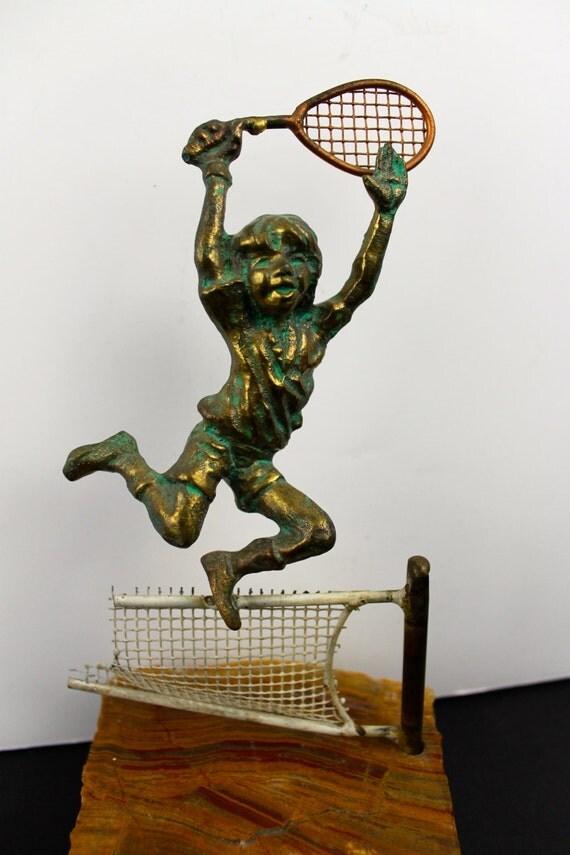Bijan Mid Century Tennis Sculpture Signed Brass Girl Jumping
