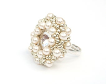 Ring, Beaded Ring, Swarovski Crystal and Cream Pearls, Adjustable Statement Ring