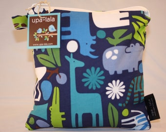 Wet Bag or Eco-Bag Small - Waterproof - Alexander Henry - 2D Zoo Navy