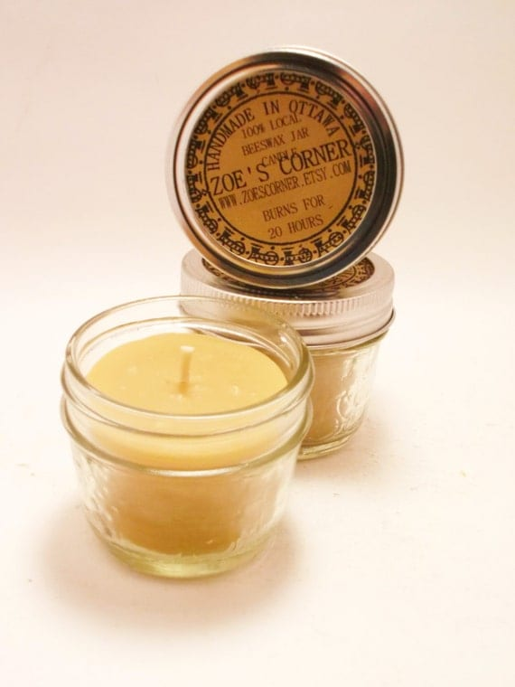 Beeswax Candle - Portable Jar candle -Set of 2 (BURNS FOR 15 HOURS)