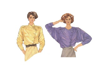 Butterick 80s Sewing Pattern Retro New Wave Style Asymmetrical Blouse Raglan Sleeve Shirt Side Button Front Plus Size Bust 38