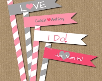 Pink & Grey Wedding Straw Flags - Printable DIY Straw Flags - Wedding Cupcake Picks - Bridal Cupcake Toppers - Bridal Straw Flags Download