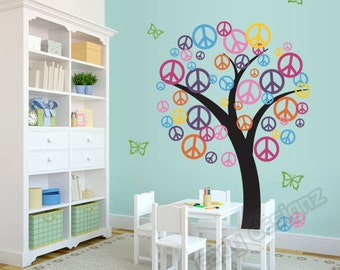 Peace Sign Tree Wall Decal - Childrens Nursery Decor - Vinyl Tree Decal - Playroom Decor - Colorful Vinyl Tree - Peace Symbols - Teen Decor