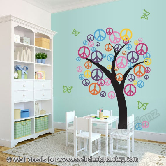 Peace Sign Wall Art peace sign tree wall decal childrens nursery decor vinyl