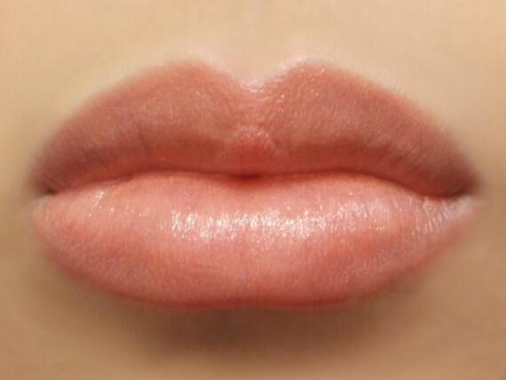 "Vegan Lipstick - ""Innocence"" (sheer pearly peachy pink nude) natural lip tint, balm, lip colour mineral lipstick"