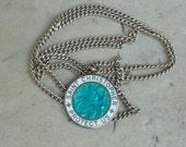 Vintage Sterling Turquoise & White Enameled St Christopher Necklace