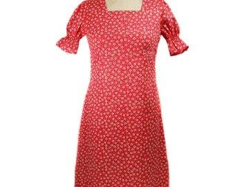 vintage 1960s floral dress / red floral dress / 60s cotton dress / sundress day dress / women's vintage dress / size medium