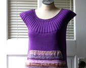 Made to Order: Purple Hand Knitted Cotton Summer Sweater with Front Pouch Pocket and Hand Dyed Yarns - AmyLaRoux