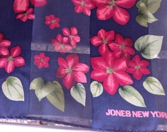 Vintage Jones New York scarf  semi sheer long and full of small flowers