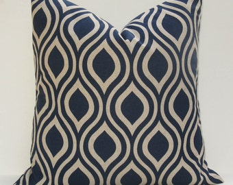 Blue Throw Pillow. Euro Pillow Cover. ONE 26x26.Blue Pillow .Blue Tan Pillow Euro covers printed fabric on front and back