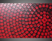 Black and Red Painting on large canvas Wall art deco Squares abstract painting on canvas 48 x 24 Ready to Hang Made to Order
