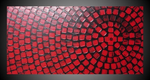 Wall Art Red black and red painting on large canvas wall art deco squares
