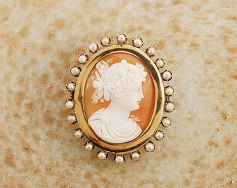 Elegant Antique Shell Cameo Brooch w/ Gold and Pearls All Around