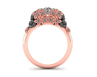 Day of the dead diamond engagement ring