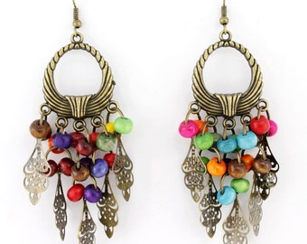 Beautiful Gold-tone Leaf and Beads Chandelier Drop Earrings